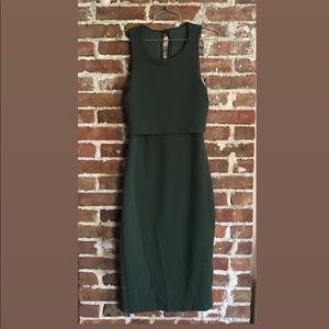 NTW never worn green dress featuring back slit